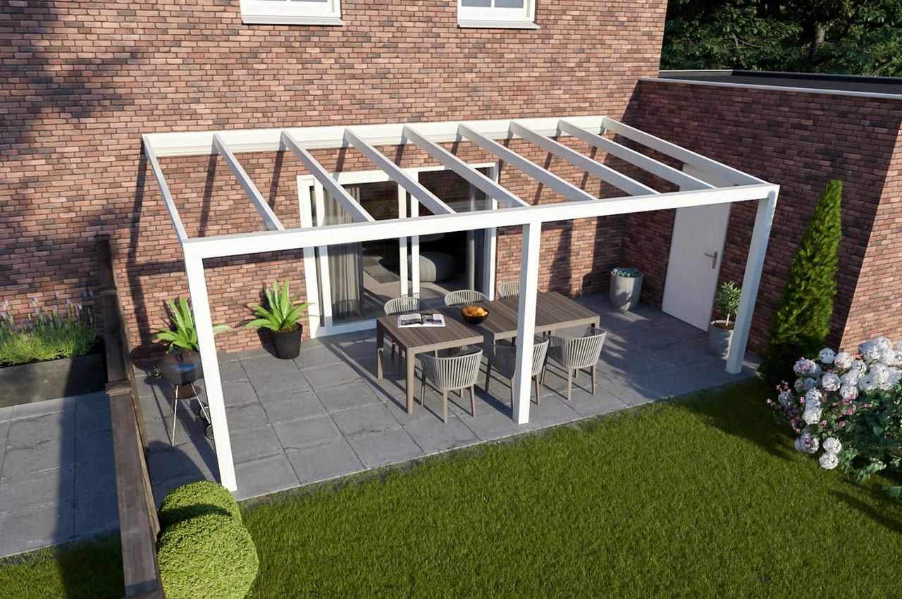 Greenline veranda glas RAL9010 Modern 6000 mm 2500 mm
